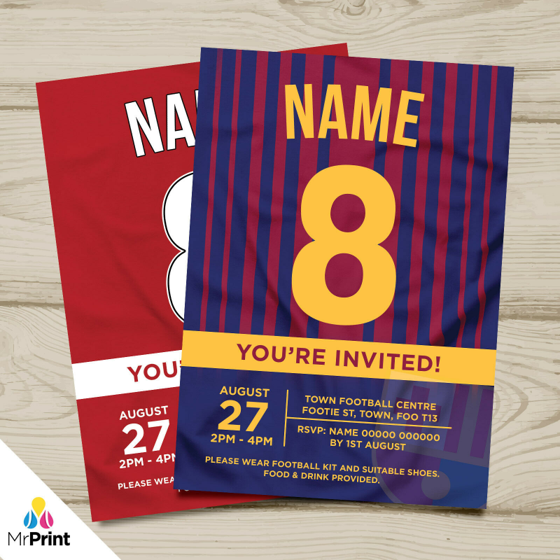 Details about PERSONALISED FOOTBALL SHIRT STYLE PARTY INVITATIONS    KIDS/ADULTS   ANY TEAM!